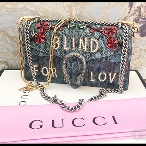 $6700 Gucci Dionysus 'Blind for Love' Python Bag